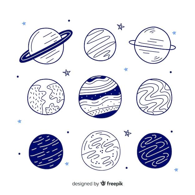 Mão desenhada coleção planeta Vetor grátis