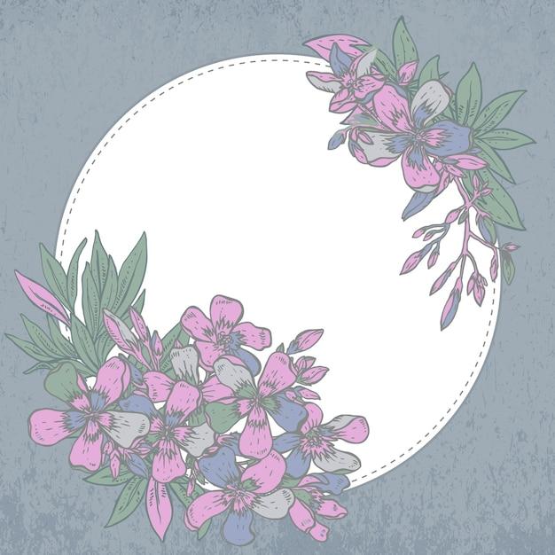 Mão desenhada composição de flores de rododendro em fundo branco Vetor Premium