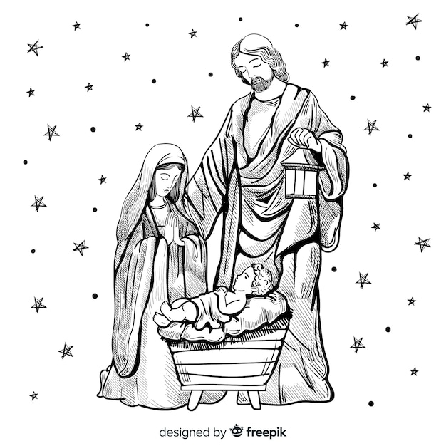 Mão desenhada composição natal Vetor grátis