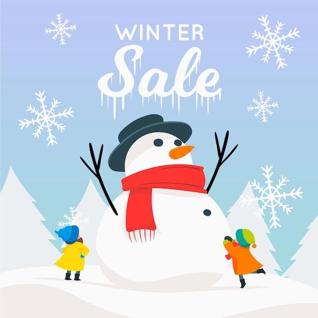 Mão desenhada conceito de banner de venda de inverno Vetor grátis