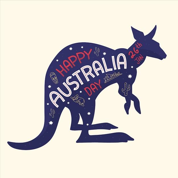 Mão desenhada conceito de dia da austrália Vetor grátis