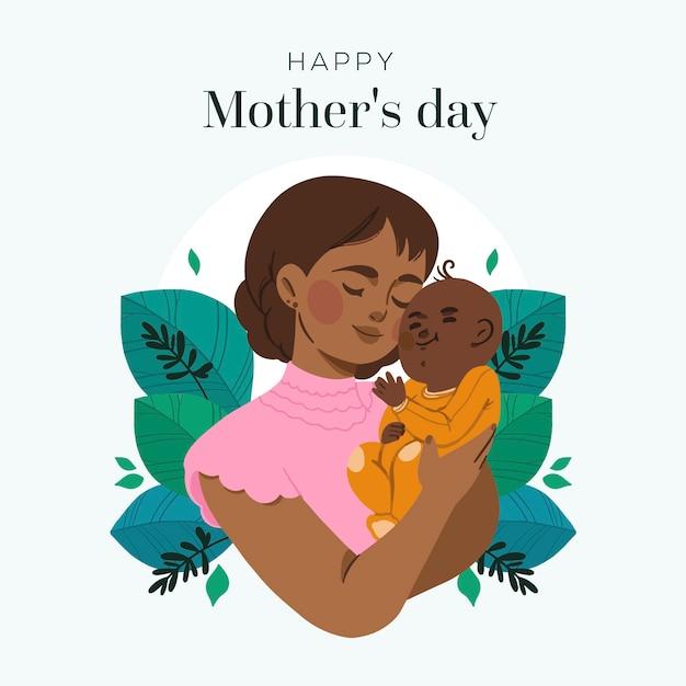 Mão desenhada conceito de dia das mães Vetor grátis