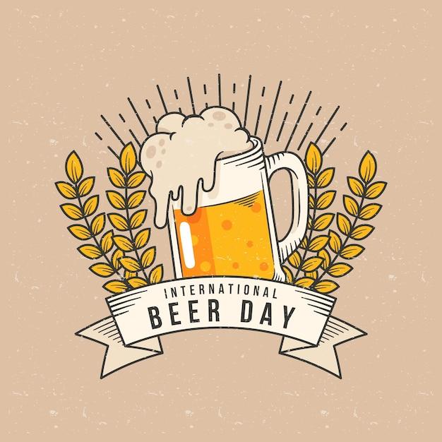 Mão desenhada conceito de dia internacional da cerveja Vetor grátis