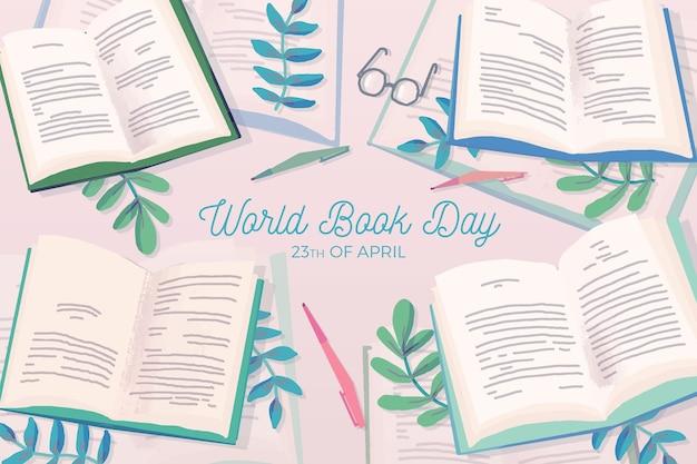 Mão desenhada conceito de dia mundial do livro Vetor grátis