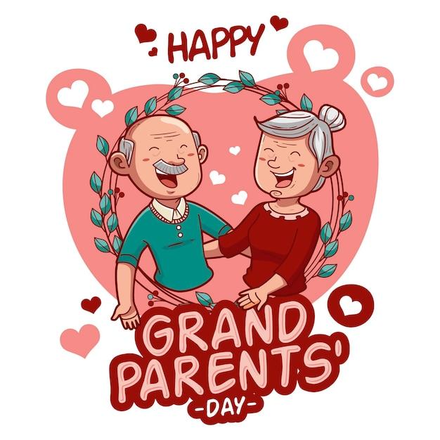 Mão desenhada conceito de dia nacional dos avós dos eua Vetor grátis
