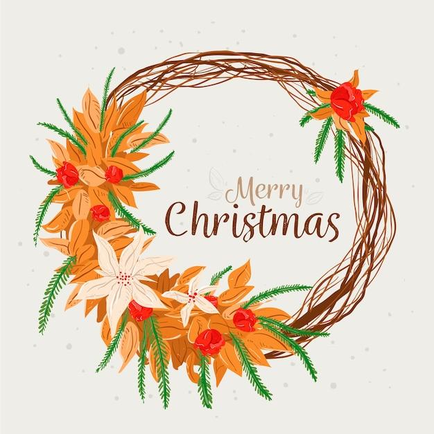 Mão desenhada conceito de grinalda de natal Vetor grátis