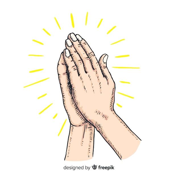 Mão desenhada conceito de mãos a rezar Vetor grátis