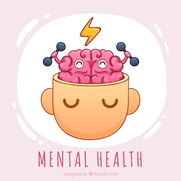 Mão desenhada conceito de saúde mental Vetor grátis