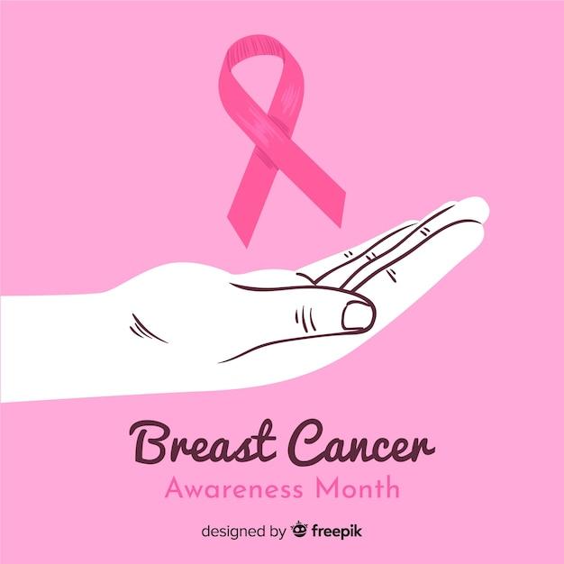 Mão desenhada conscientização do câncer de mama com a mão Vetor grátis