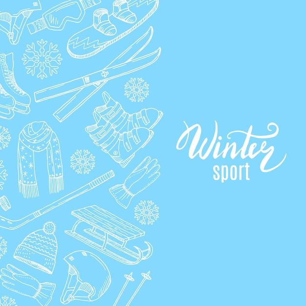 Mão desenhada contornada equipamentos esportivos de inverno Vetor Premium