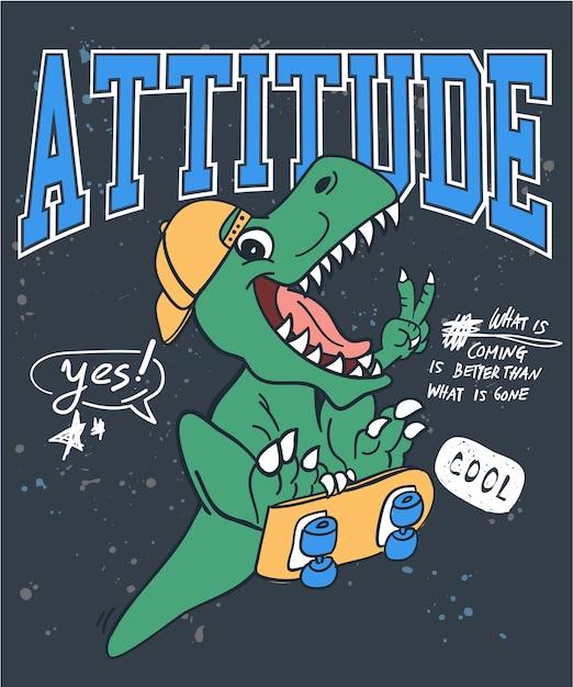 Mão desenhada cool vector design de dinossauro para impressão de camisa de t Vetor Premium