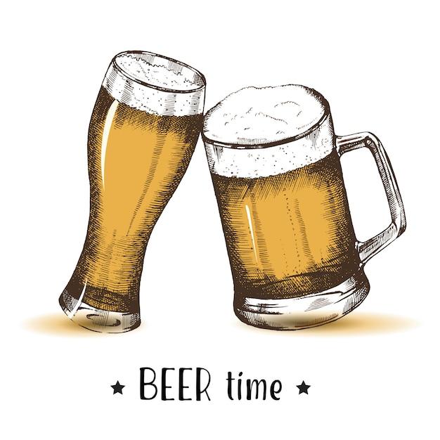 Mão desenhada copos de cerveja. esboço de oktoberfest, desenho à mão livre. Vetor Premium