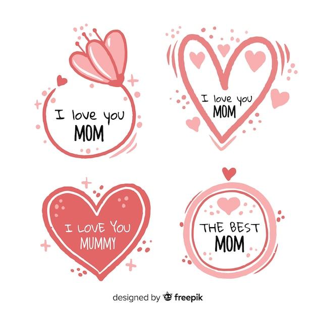 Mão desenhada corações e flores coleção de distintivo de dia das mães Vetor grátis