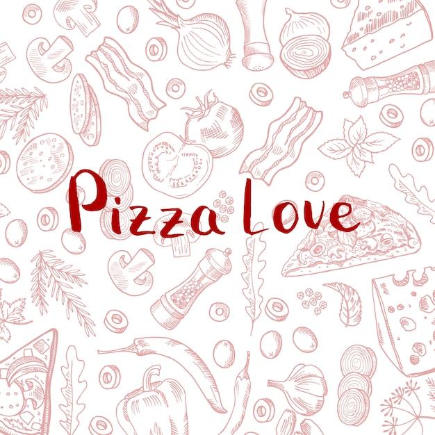 Mão desenhada cozinhar elementos de pizza padrão com letras Vetor Premium