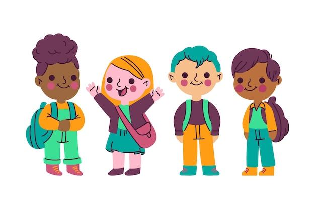 Mão desenhada crianças de volta à coleção de ilustração de escola Vetor grátis