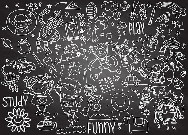 Mão desenhada crianças doodle conjunto Vetor Premium