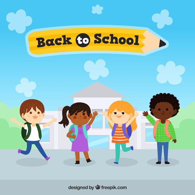 Mão desenhada crianças prontas para voltar para a escola Vetor Premium