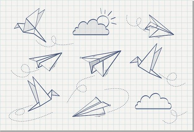 Mão desenhada de avião de papel com papel pássaro, ilustração vetorial Vetor Premium