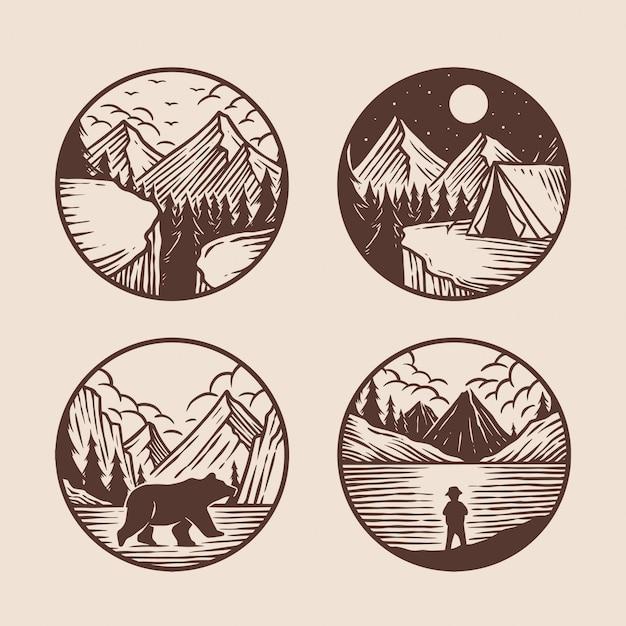 Mão desenhada de coleção de logotipo de aventura Vetor Premium