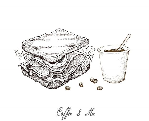 Mão desenhada de copo de café descartável com sanduíche grelhado Vetor Premium