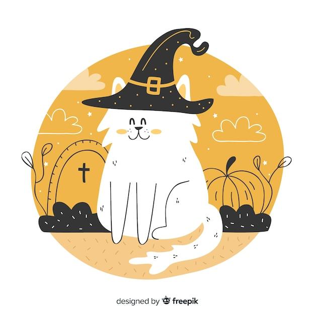 Mão desenhada de giro gato de halloween Vetor grátis