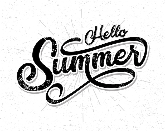 Mão desenhada de letras olá verão Vetor Premium