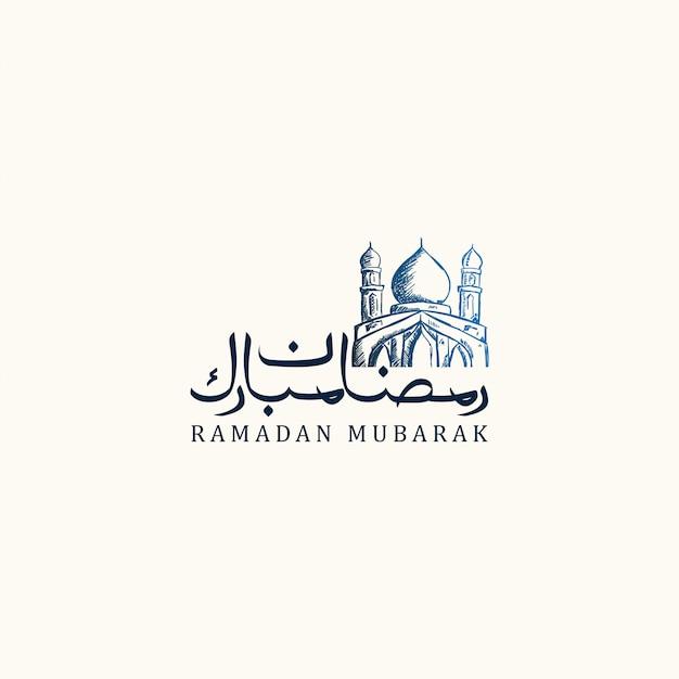 Mão desenhada de ramadan kareem com mesquita Vetor Premium