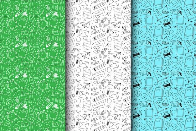 Mão desenhada de volta à coleção de padrão de escola Vetor grátis
