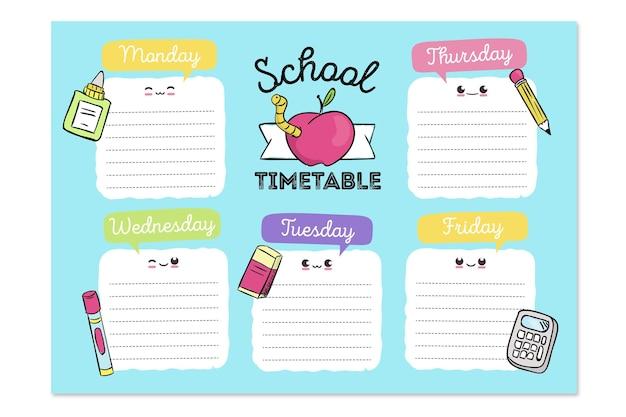 Mão desenhada de volta ao calendário escolar Vetor grátis