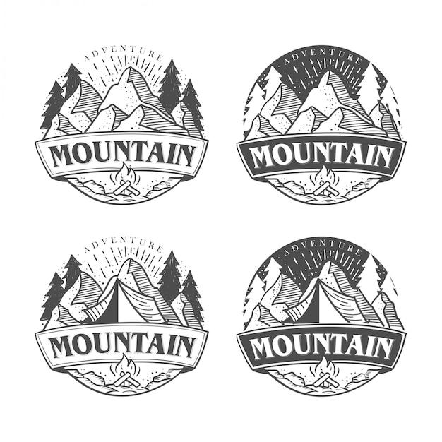 Mão desenhada desenhos de logotipo ao ar livre e aventura Vetor Premium