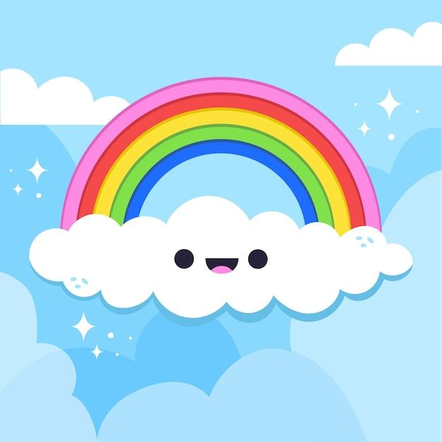 Mão desenhada design arco-íris com nuvem Vetor grátis