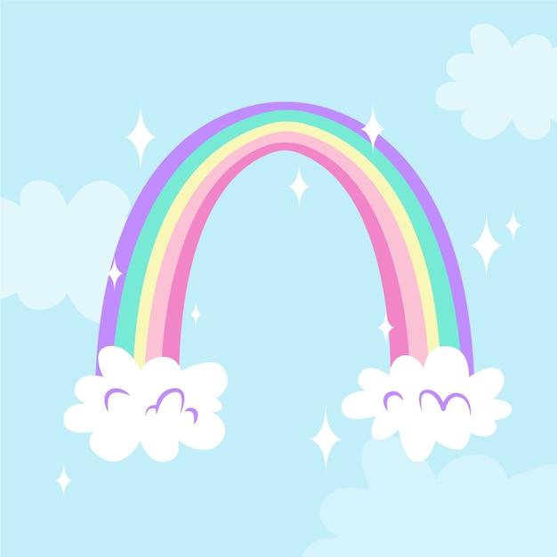 Mão desenhada design arco-íris Vetor grátis
