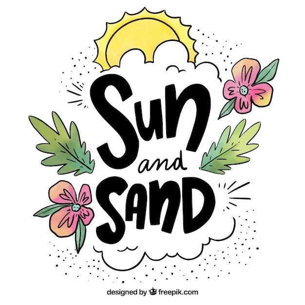 Mão desenhada design de citação de verão Vetor grátis
