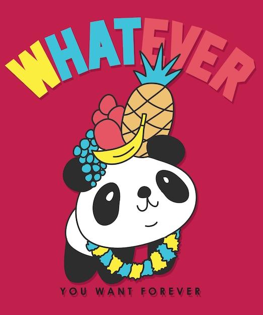 Mão desenhada design de vetor de panda para impressão de camisa de t Vetor Premium