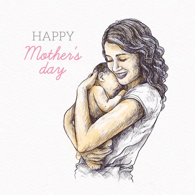 Mão desenhada design dia das mães Vetor grátis