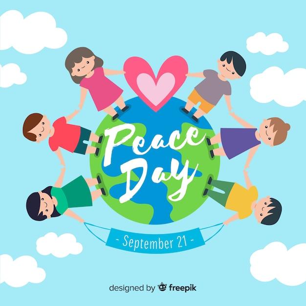 Mão desenhada dia da paz com as crianças de mãos dadas Vetor grátis
