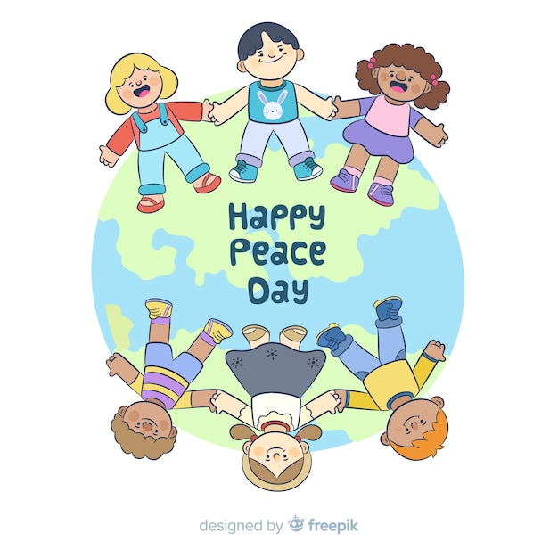 Mão desenhada dia da paz com as crianças Vetor grátis