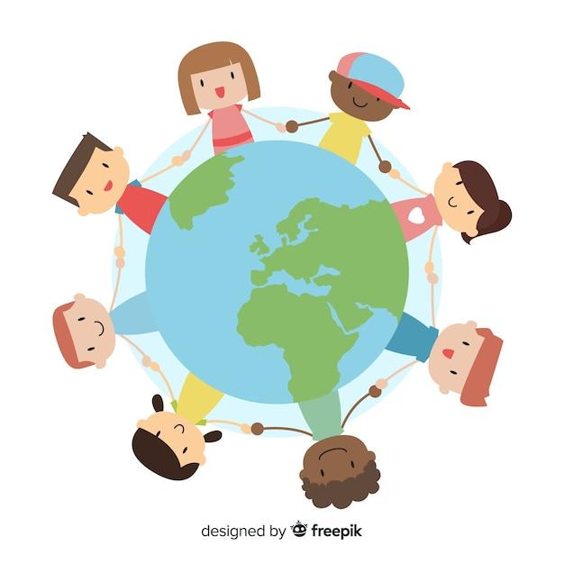 Mão desenhada dia da paz com crianças Vetor grátis