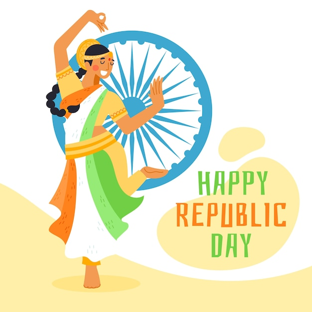 Mão desenhada dia da república indiana com mulher dançando Vetor grátis