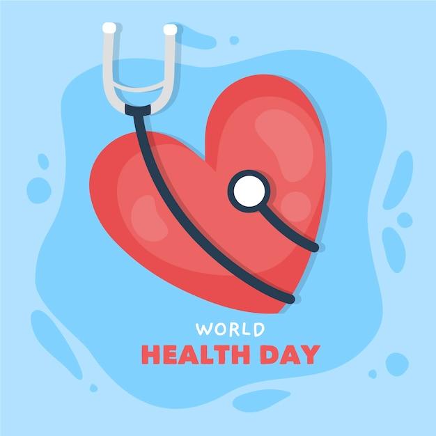Mão desenhada dia mundial da saúde com coração e estetoscópio Vetor grátis