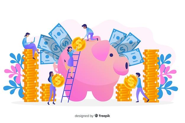 Mão desenhada dinheiro salvando o fundo do conceito Vetor grátis
