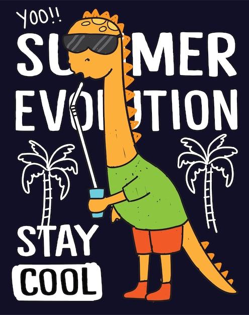 Mão desenhada dinossauros para impressão de camisa de t Vetor Premium