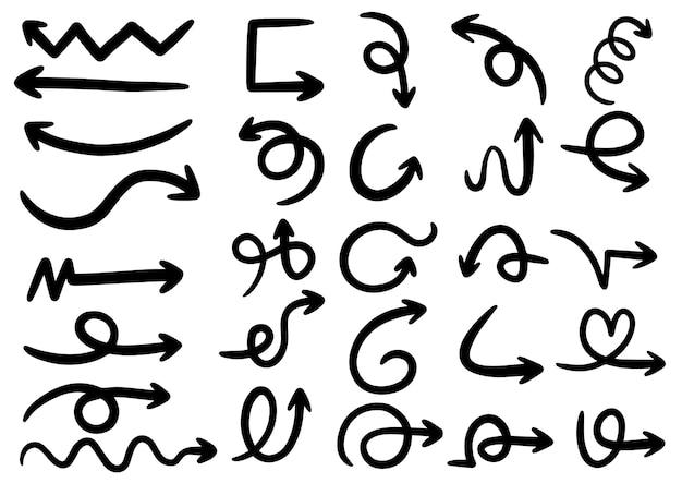 Mão desenhada doodle elementos de design. mão desenhadas setas, molduras, bordas, ícones e símbolos. elementos de infográficos de estilo dos desenhos animados. Vetor Premium
