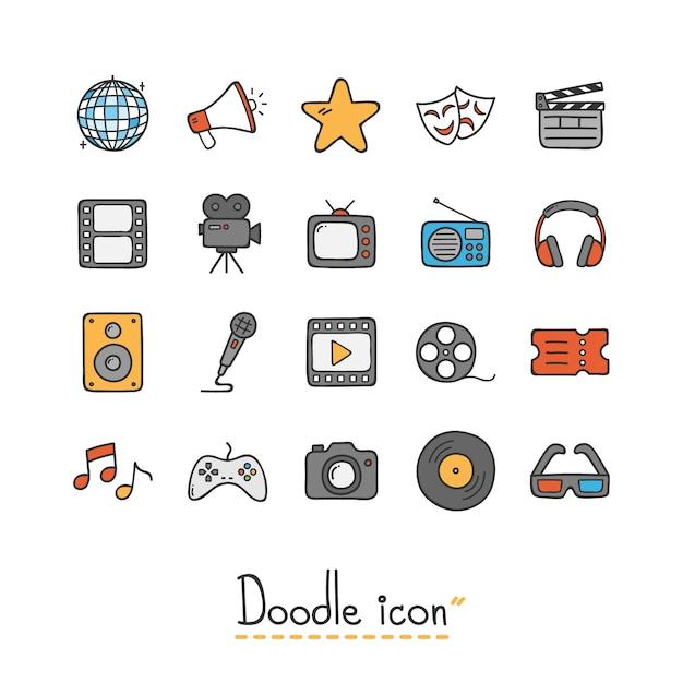 Mão desenhada doodle ícone. Vetor Premium