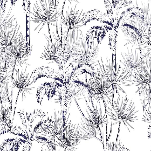 Mão desenhada doodle linha esboço palmeiras, ilha Vetor Premium