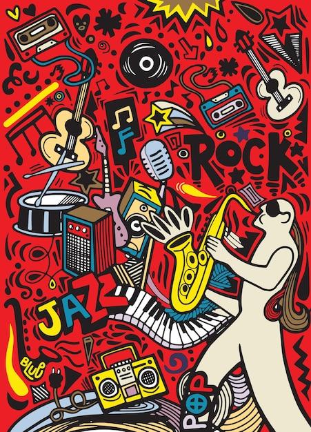 Mão desenhada doodles modelo de cartaz musical. música abstrata Vetor Premium