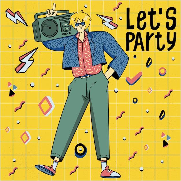 Mão desenhada dos anos 80 estilo dançando ilustração de disco Vetor Premium