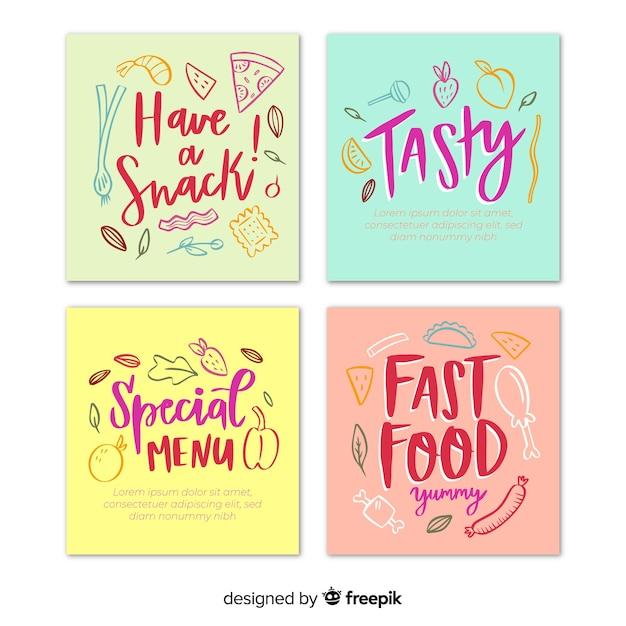 Mão desenhada e lettering coleção de cartão de comida Vetor grátis