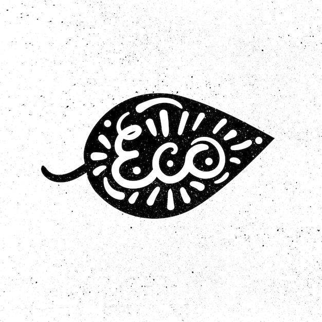 Mão desenhada ecologia e 100 por cento letras naturais. eco design. Vetor Premium