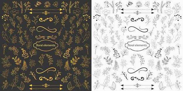 Mão desenhada elementos florais design vector Vetor Premium